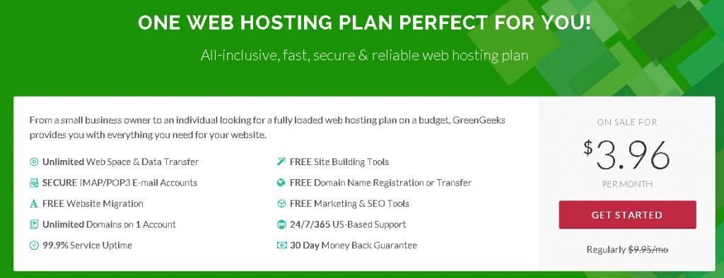 GreenGeeks Unlimited Web Hosting Plan