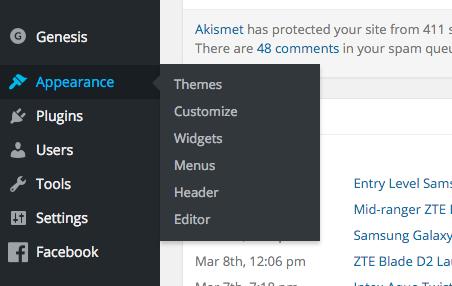 Wordpress Menus from Dashboard