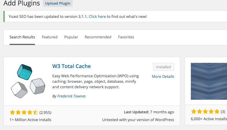 Find W3 Total Cache Plugin on WordPress
