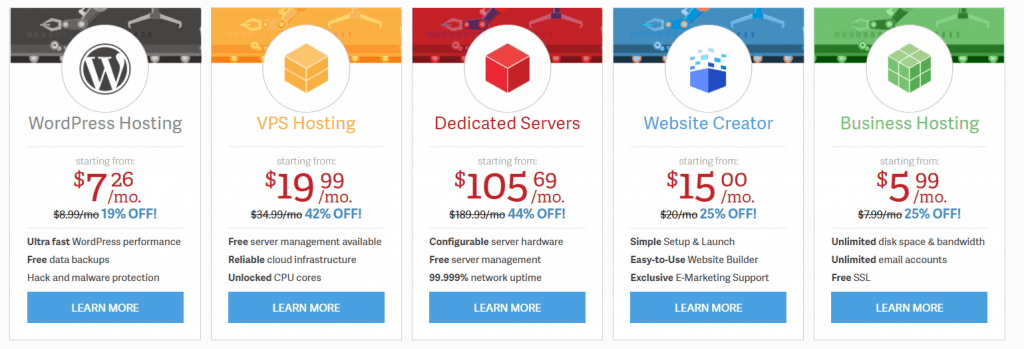 InMotion Hosting web hosting plans