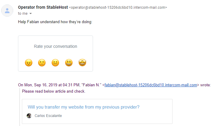 StableHost live chat response